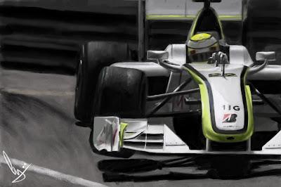 рисунок Дженсон Баттон Brawn GP на Гран-при Монако 2009