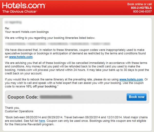【取消訂單】Hotels.com3星減US$30、4星減US$40、5星減US$50!