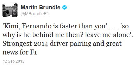 Мартин Брандл в твиттере о переходе Кими в Ferrari 12 сентября 2013