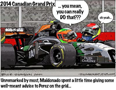 Пастор Мальдонадо даёт наставления Серхио Пересу на стартовой решетке Монреаля - комикс Bruce Thomson по Гран-при Канады 2014