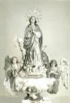Imagen actual de la Purísima de la Ermita, patrona de Catral. Años 70. (Biblioteca Municipal de Catral).