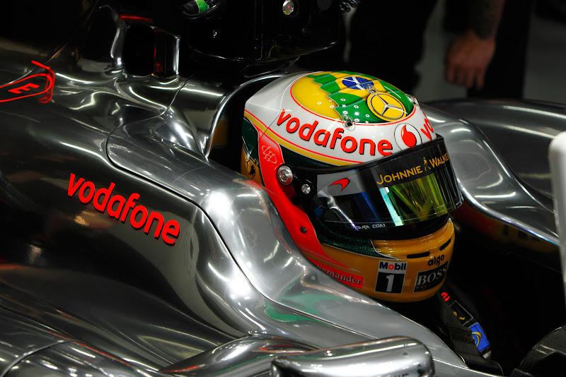 Льюис Хэмилтон Айртон Сенна шлем Джейк Хамфри интервью BBC Интерлагос Гран-при Бразилии 2011