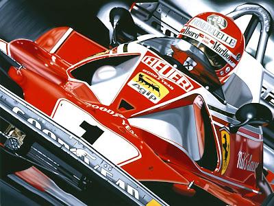 Ники Лауда и болид 1976 года Ferrari 312T