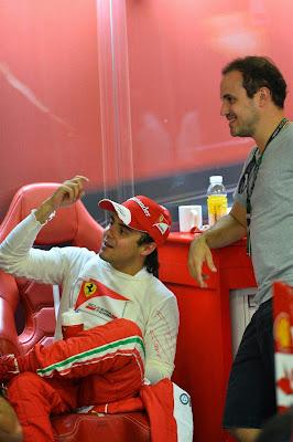Фелипе Масса с братом в гараже Ferrari на Гран-при Сингапура 2013