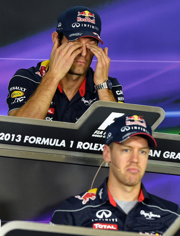 Марк Уэббер и Себастьян Феттель на пресс-конференции в четверг на Гран-при Австралии 2013