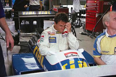 фэйспалм Андреа де Чезариса на Гран-при Бельгии 1988