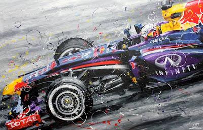 Себастьян Феттель Red Bull 2013 - рисунок The German Bull от Art Rotondo