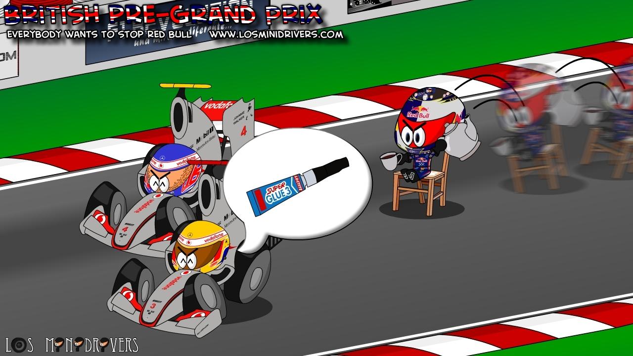 Комикс Los MiniDrivers: Льюис Хэмилтон, Дженсон Баттон и Себастьян Феттель на Гран-при Великобритании 2011