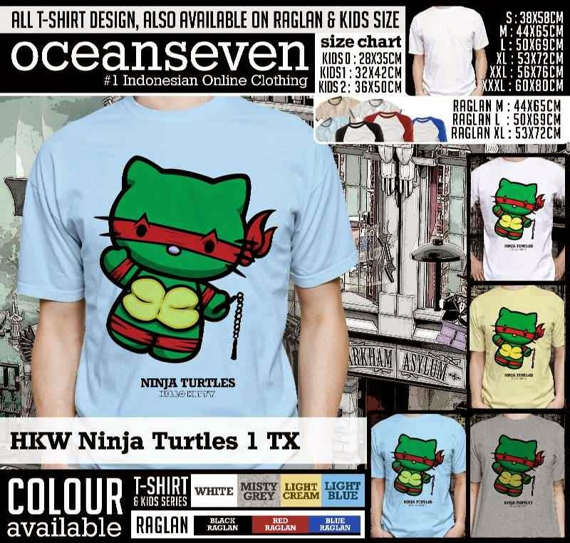 Kaos kartun lucu hkw ninja turtles 1 tx menggunakan bahan katun combed