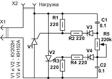 Регуляторы напряжения на тиристорах схемы от 0-220