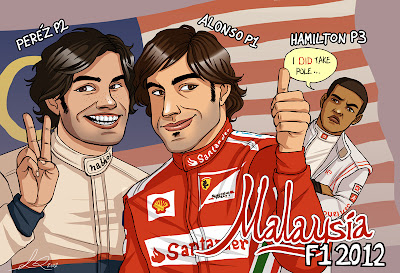 Серхио Перес Фернандо Алонсо Льюис Хэмилтон - призеры Гран-при Малайзии 2012 - карикатура Yelaeve