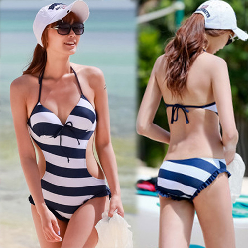 Women-Sexy-One-piece-Halter-Monokini-Stripe-Bathing-Swimwear-Swimsuit-Ruffle-1aK