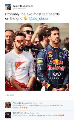 Даниэль Риккардо, Фернандо Алонсо и Даниил Квят обсуждают бороду в твиттере на Гран-при США 2014