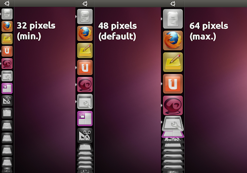 Unity launcher various icon sizes