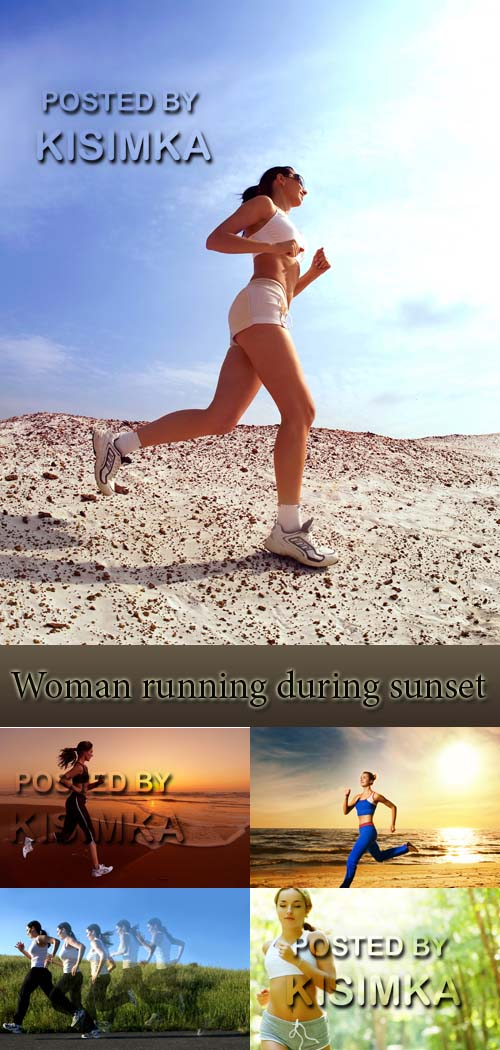 Stock Photo:Woman running during sunset