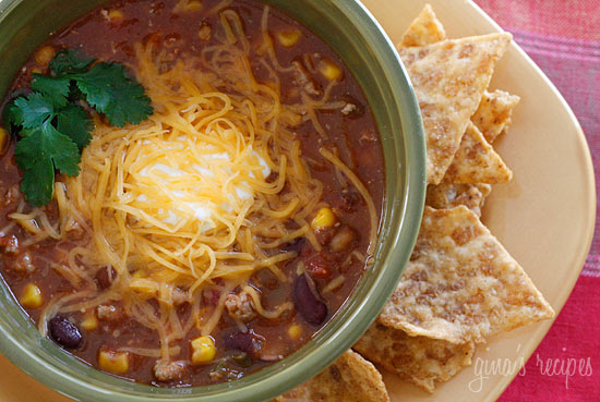 Turkey Chili Taco Soup – a healthy, hearty soup ready in 20 minutes!