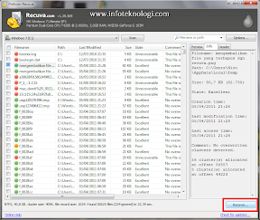 Screenshot restore file di Recuva