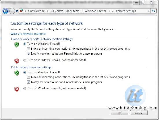 Mengatur notifikasi untuk koneksi yang diblokir firewall