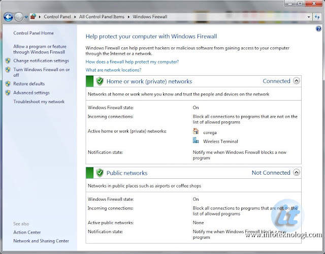 Akses Firewall di Windows 7