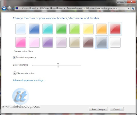 Ganti warna taskbar dan border windows 7