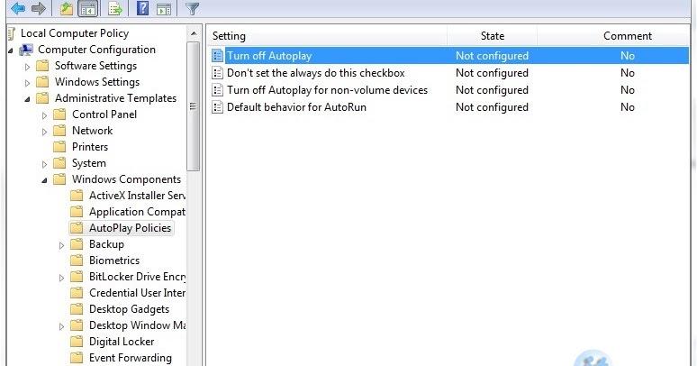 disable autorun windows 7 gpedit.msc
