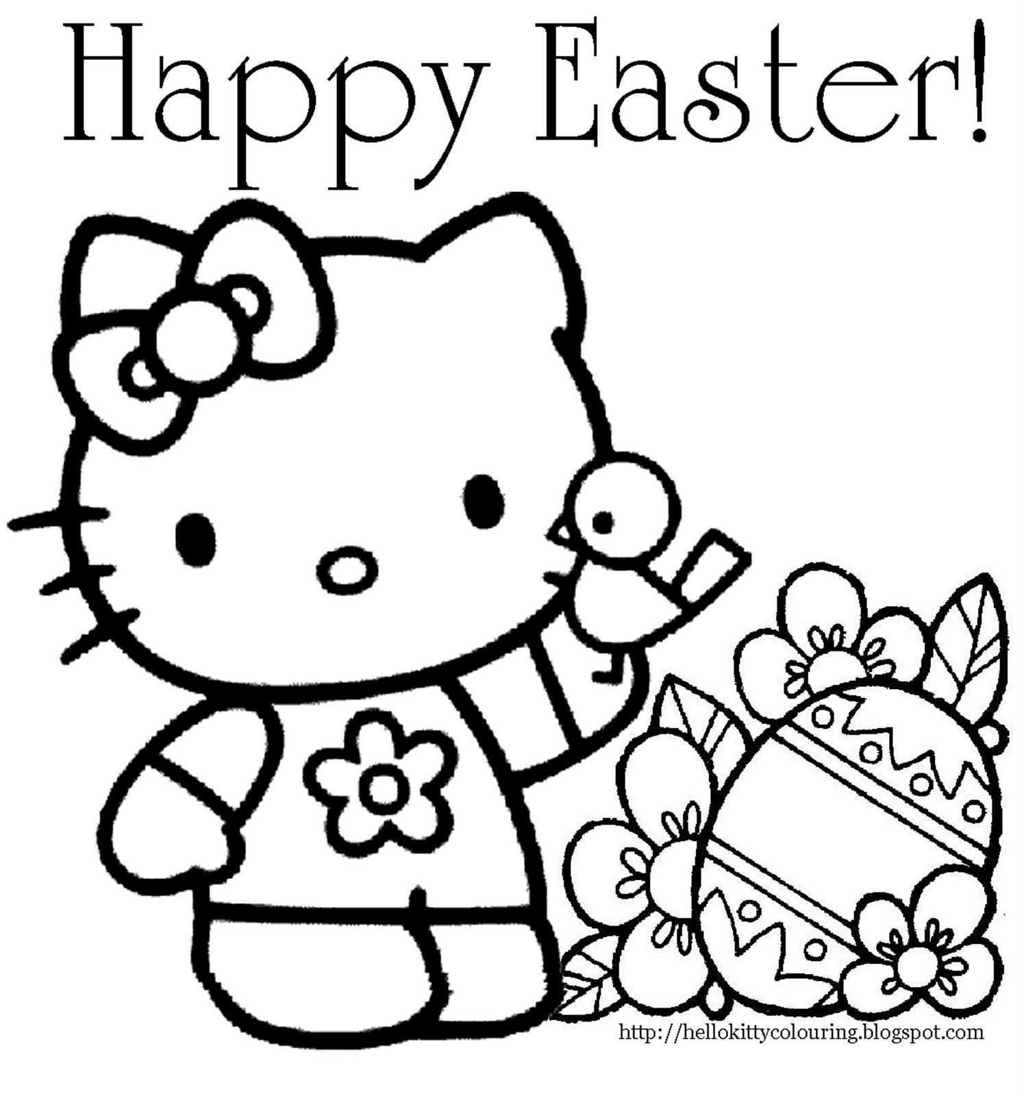 Pudgy Bunny's Hello Kitty Coloring Pages - hello kitty coloring pages print