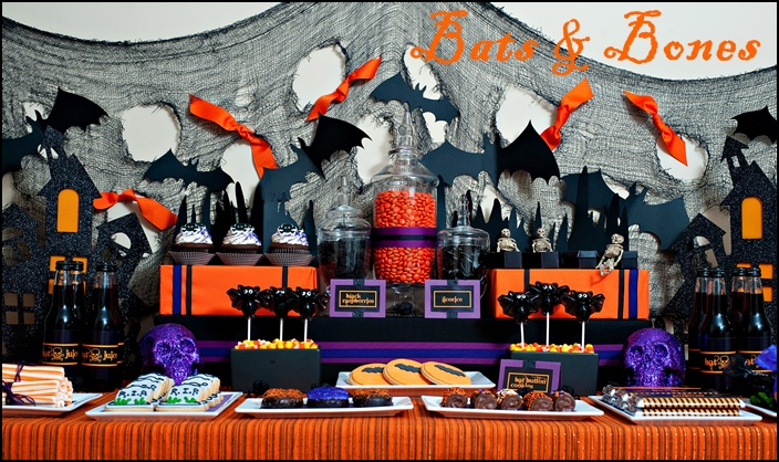 Bats & Bones Halloween Dessert Table