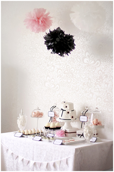Pink, Black, and White Dessert Table