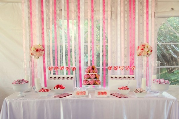 Pink & White Valentine's Day Dessert Table