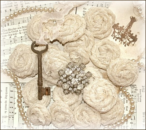 rolled lace roses