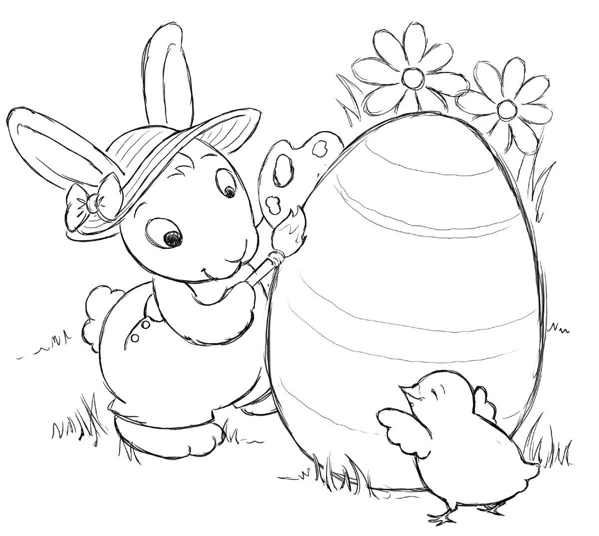 Bunny Rabbits Coloring Pages First-School Preschool