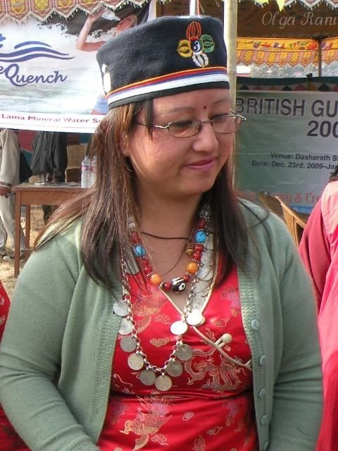 Tamang woman from Nepal wearing coin necklace
