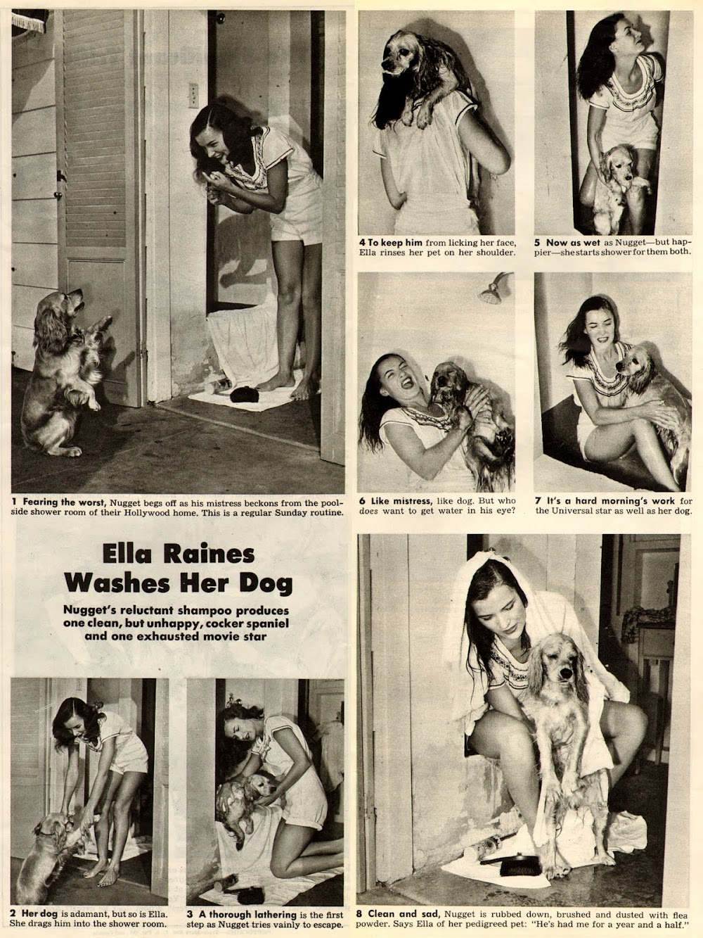 Ella Raines Washes Her Dog