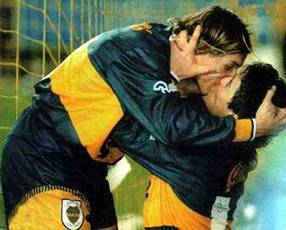 kissing scene in football
