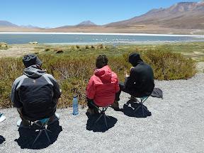 Déjeuner devant la laguna Cañapa