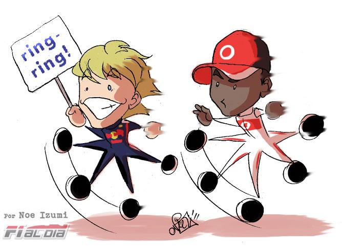 Себастьян Феттель и Льюис Хэмилтон на Гран-при Испании 2011 анимешный рисунок Noe Izumi