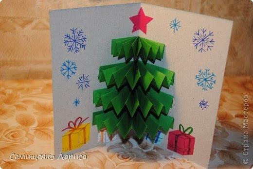 Открытка новогодняя своими руками елка