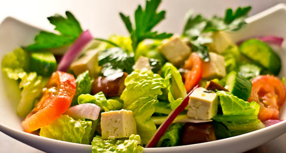 "Greek Salad With Marinated Tofu ""Feta"" (Low Sodium)"