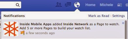 Facebook notification for a Page being watched