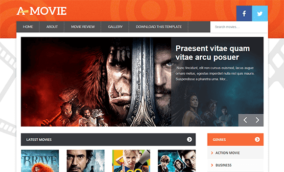 movie website blogger template free download