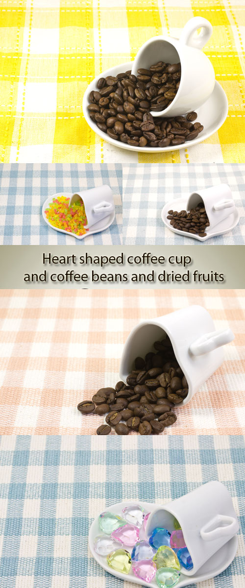 Stock Photo: Heart shaped coffee cup and coffee beans and dried fruits