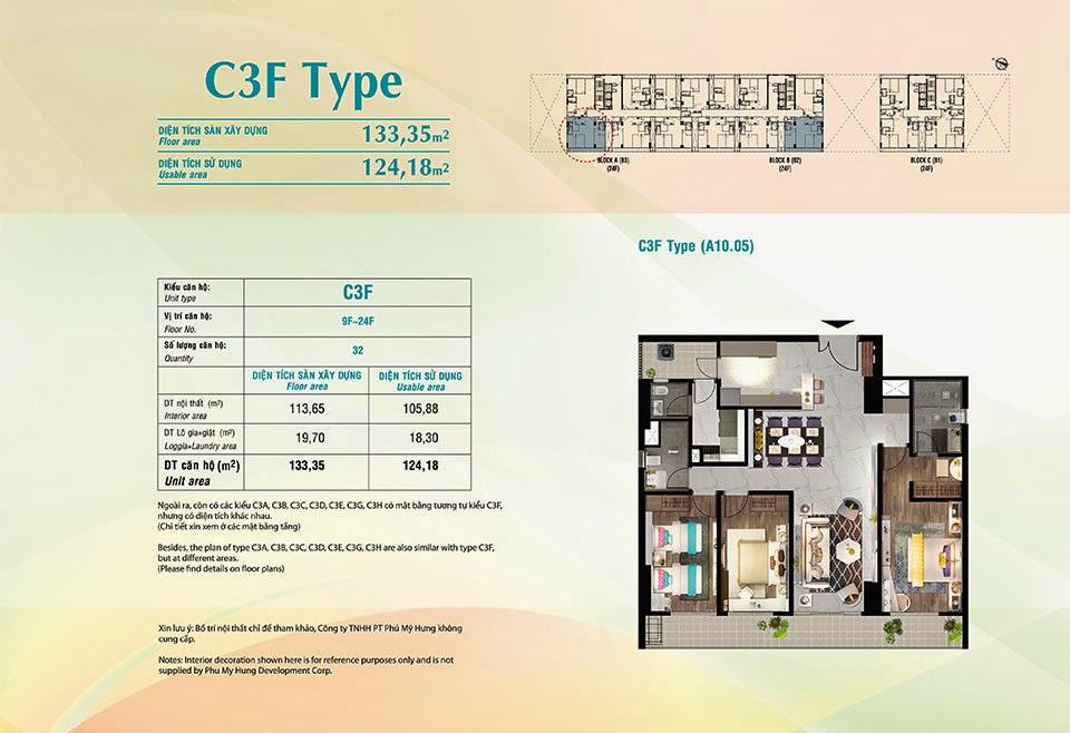 Căn hộ Scenic Valley Phú Mỹ Hưng, kiểu C3F, 133.35m2 có thiết kế 3 phòng ngủ