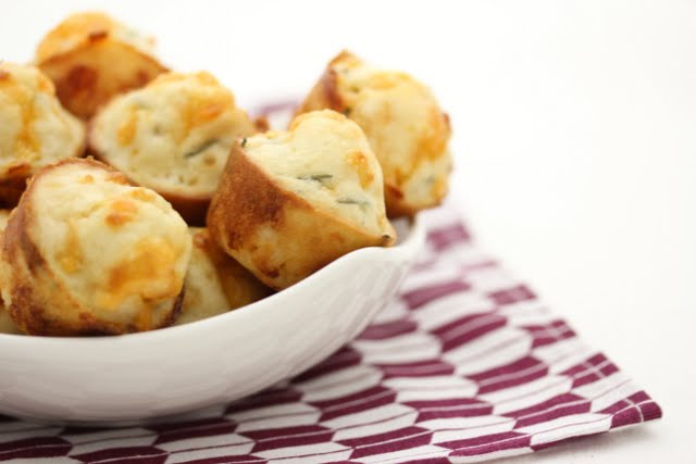 a bowl filled with Bacon Chive Puffs