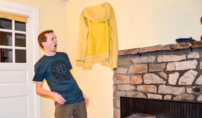 Andrew throws sweatshirt in Petri Tee