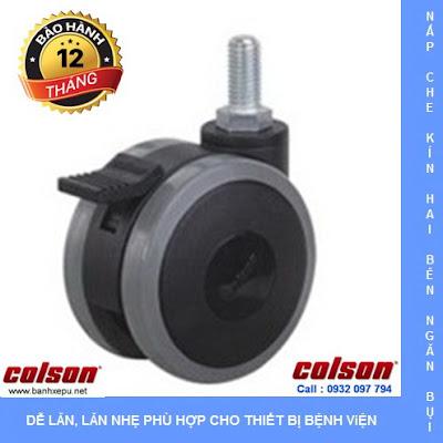 Bánh xe đôi cóc vít có khóa CGT Colson Caster Mỹ phi 75 | CGT7554BK