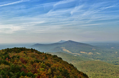 View of Pilot Mountain and Sauratown Mountain from Moore's Knob