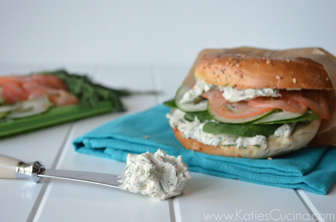 Veggie Bagel Sandwich with Herb and Garlic Cream Cheese - Katie's ...