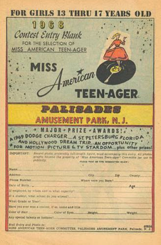 Palisades Amusement Park Miss American Teen Ager Contest