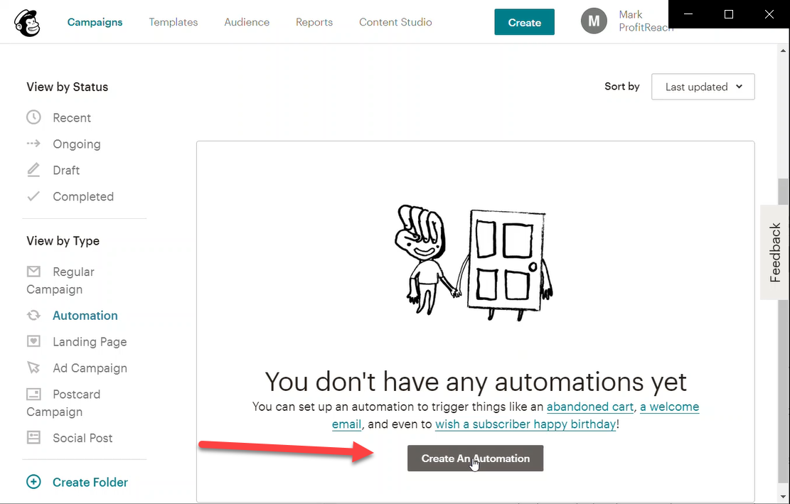 Click on 'Create an Automation'