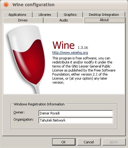 Wine 1.3.16 di Ubuntu Maverick Meerkat